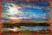 Seashore Pastels Prints - Over the Marsh Print by Peter R Davidson
