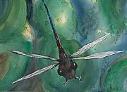 Dragonfly Painting Originals - Over The Pads by Pete Maier