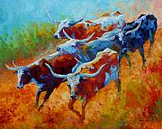 Vivid Painting Prints - Over The Ridge - Longhorns Print by Marion Rose