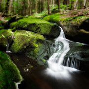 Cascading Water Prints - Over the Rocks Print by Bill  Wakeley
