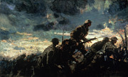 First World War Painting Metal Prints - Over the Top Metal Print by Alfred Bastien