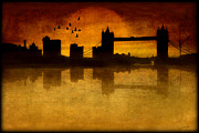 Sunset Framed Prints Digital Art Posters - Over The Tower Bridge Poster by Tom York