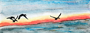 Waterfowl Paintings - Over the vast expanse by R Kyllo