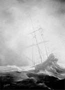 Storms Drawings - Over Troubled Sea by Fotios Pavlopoulos