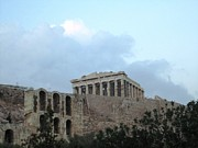 Neo-classical Posters - Overcast Cloudy Day II At Acropolis Parthenon Palace in Athens Greece Poster by John A Shiron