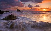Sunset Seascape Photo Prints - Overcome Print by Mike  Dawson