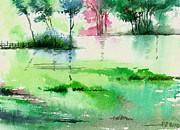 Peaceful Scene Paintings - Overflow 1 by Anil Nene