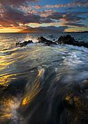Ocean Sunset Prints - Overflow Print by Mike  Dawson