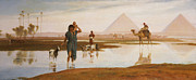 Reflecting Trees Paintings - Overflow of the Nile by Frederick Goodall