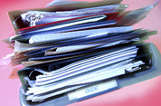 Paperwork Prints - Overflowing In-tray Print by Crown Copyrighthealth & Safety Laboratory