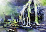 Angkor Paintings - Overgrown Cambodian Temple by Ryan Fox