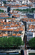 Rhone Alpes Metal Prints - Overhead Of City, Lyon, Rhone-alpes, France, Europe Metal Print by Glenn Van Der Knijff