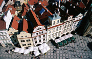 Town Square Framed Prints - Overhead Of Houses In Old Town Square From Town Hall Tower Framed Print by Paolo Cordelli