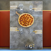Booth Prints - Overhead of Table With Pizza Print by Andersen Ross