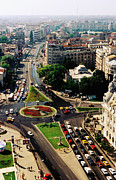 Romania Photos - Overhead Of University Square And Ic Bratianu Blvd, Bucharest, Romania, Europe by Richard I