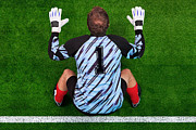 Football Player Framed Prints - Overhead shot of a goalkeeper on the goal line Framed Print by Richard Thomas