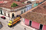 Residential Structure Prints - Overhead View Of Granadas Colonial Buildings And Crossroads Print by Uros Ravbar