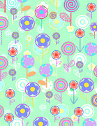 Geometric Prints - Overlayer Flowers  Print by Louisa Knight