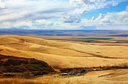 Idaho Scenery Posters - Overlooking Farm Blue Mountain Range Poster by Tracie Kaska