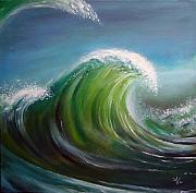 Blue Green Wave Framed Prints - Overpowered Framed Print by Arie Van der Wijst