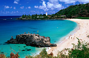 Bay Islands Posters - Overview Of Waimea Bay On The North Shore, Waimea, United States Of America Poster by Ann Cecil