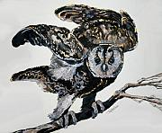 Raptors Mixed Media Posters - Owl Alight Poster by Jan Fontecchio