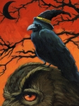 Halloween Metal Prints - Owl and Crow Halloween Metal Print by Linda Apple