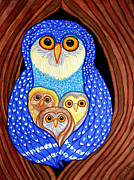 Owls Drawings - Owl and Owlettes by Nick Gustafson