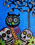 Mexican Artists Framed Prints - Owl And Sugar Day Of The Dead Framed Print by Pristine Cartera Turkus
