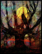 Moon Digital Art Prints - Owl And Willow Tree Print by Mimulux patricia no