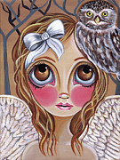 Brunette Painting Prints - Owl Angel Print by Jaz Higgins