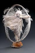 Cloth Doll Sculptures - Owl  Circle by Judith Comeau