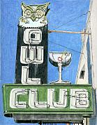Old Drawings - Owl Club by Rob De Vries