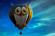 Balloons Framed Prints - Owl Hot Air Balloon Framed Print by Bob Orsillo