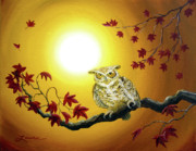 Laura Iverson - Owl in Autumn Glow