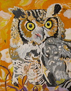Owl In The Fall Print by Phyllis Kaltenbach