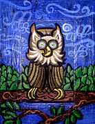 Original Owl Print Framed Prints - Owl Magic Framed Print by Genevieve Esson