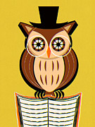 Alertness Digital Art - Owl Perching On Open Book by Kenichi Nakane