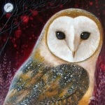 Moon Paintings - Owl Power Animal by Amanda Clark