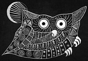 Black And White Owl Paintings - Owl by Shruti Aggarwal