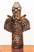 Color Sculpture Originals - Owl Totem bronze gold color wings beak hair penetrating eyes  scales feathers   by Rachel Hershkovitz