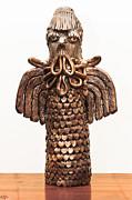 Owl Totem Bronze Gold Color Wings Beak Hair Penetrating Eyes  Scales Feathers   Print by Rachel Hershkovitz