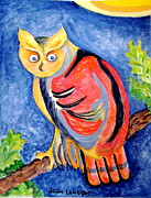 Owl With Attitude Print by Joan Landry