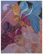 Temple Pastels - Owl Woman At Chichen Itza by Pamela Mccabe