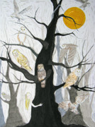 Owls Drawings - Owl Wood by Mike Paget