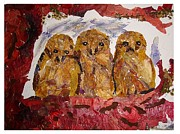 Owls Mixed Media - Owlets thinking ..no one spotted them. by Basant Soni