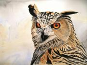 Intense Paintings - Owls gaze by Jessica Aaron