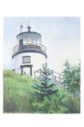 Maine Drawings Acrylic Prints - Owls Head Light Acrylic Print by Todd Baxter