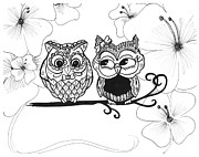 Tree Blossoms Drawings - Owls in Love by Brittany Prichard