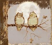 Owls Mixed Media - Owls in Moonlight II by Peggy Wilson